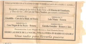Año 1991. Disco de Oro a las mejores sevillanas que otorga Radio Guadaira. El periódico de Alcalá lo anunciaba así.