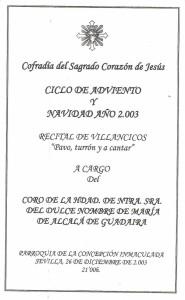 Año 2003. Concierto en la Hdad. del Sagrado Corazón de Nervión (Sevilla)
